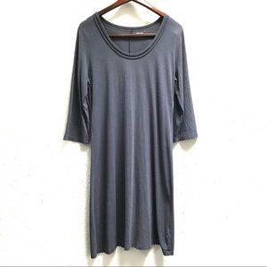 Garnet Hill Scoop Neck Three Quarter Sleeve Dress